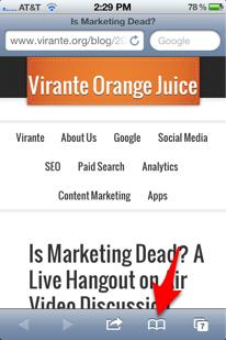 Safari iPhone bookmark icon