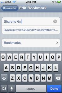 Safari for iPhone edit bookmark screen