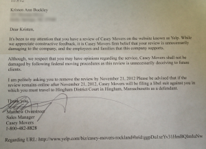 Casey Movers threaten libel lawsuit