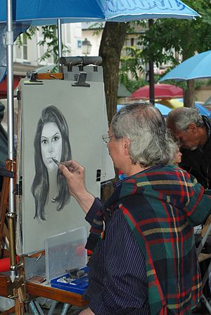 English: Street artist at La Place du Tertre, ...