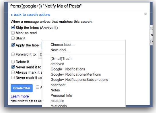 Gmail Create Filter dialog box