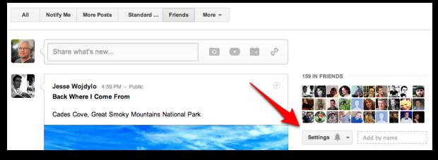 Google Plus Circle Volume Adjustment