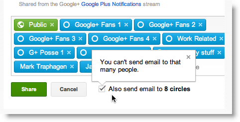 Google Plus notifications per post limit