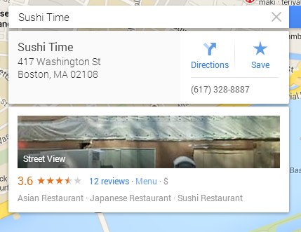 Google Maps Info Card