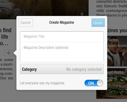 Flipboard create magazine box