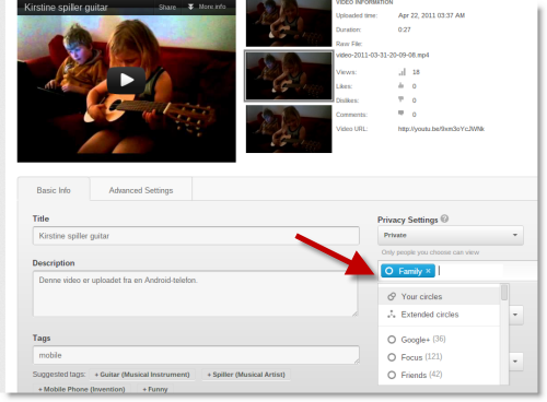 Share YouTube video to Google Plus Circles