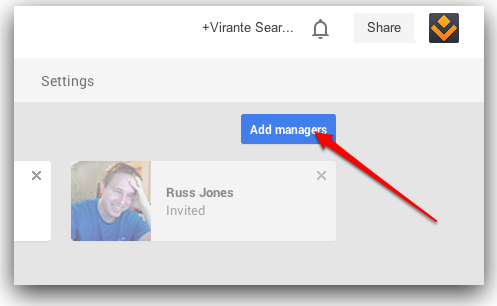 Google Plus Page add managers button