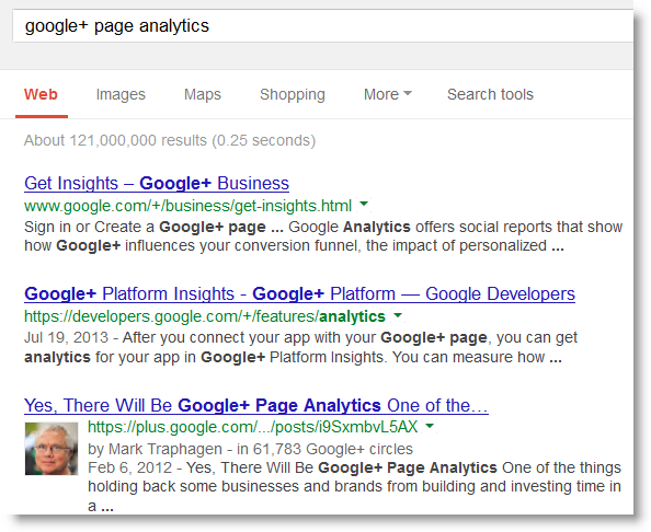 Google Plus Post in Search Results