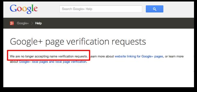 Google Plus Page verification request form