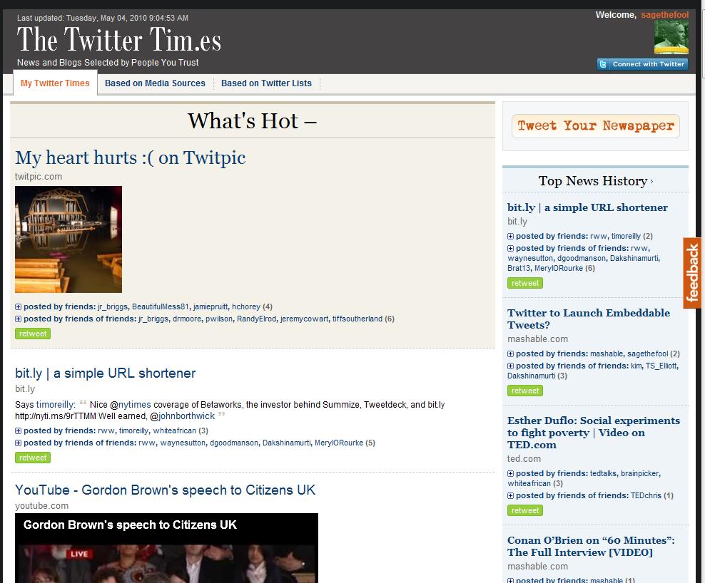 Twitter Times screen shot