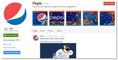 Pepsi Google+ Page