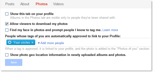 Editing Photos Tab in Google+ Page Profile