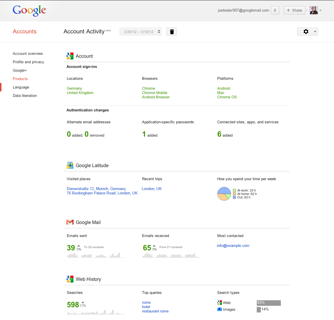 Google Account Activity Report