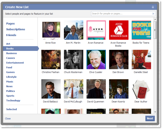 Create Facebook Ineterst List