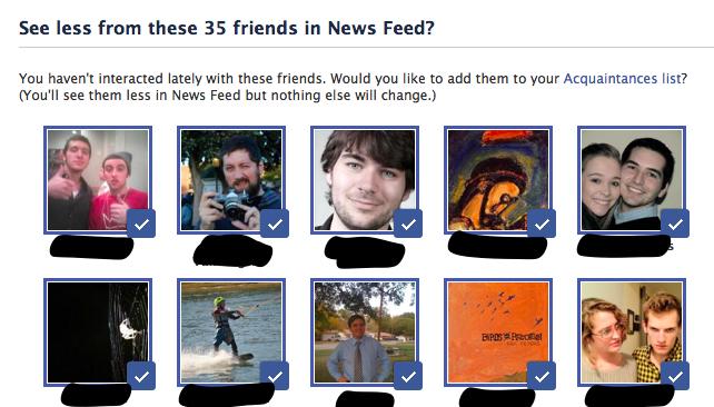 Facebook Acquaintances Lists Auto Suggestions