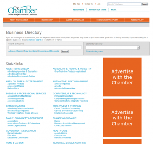 Raleigh Chamber of Commerce member directory screenshot