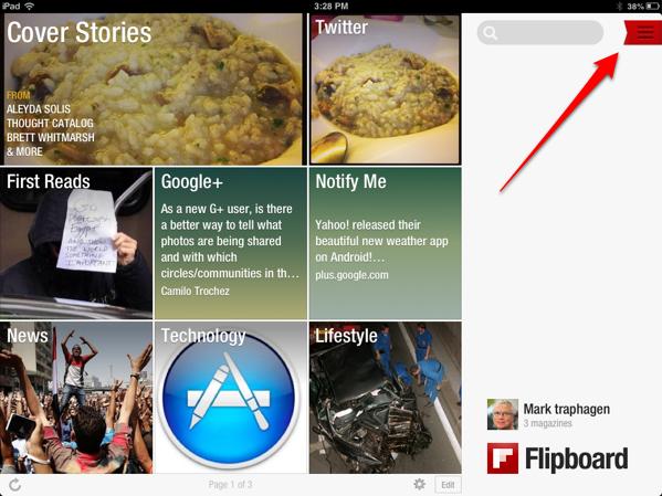 Flipboard home screen on iPad