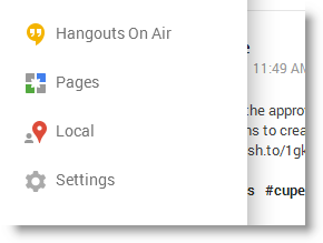 Google Plus navigation menu