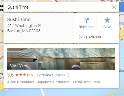 Google Maps Info Card